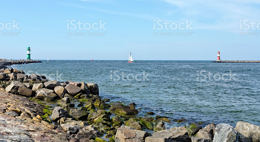 entrance to the harbour of Warnemuende stock photo