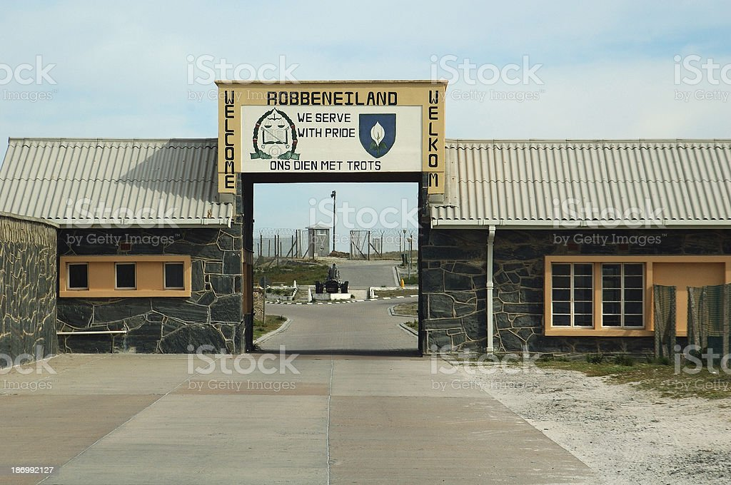 Entrance to the High-Security Prison at Robben Island, South Africa stock photo