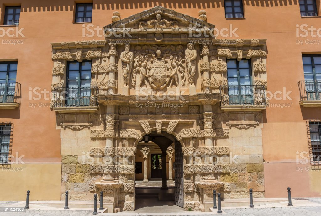 Entrée de l'hôtel de ville historique d'Almansa, Espagne - Photo