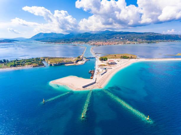 Entrance to the Lefkada Port and Beach birds eye view in Lefkada Island Greece stock photo