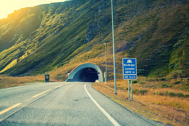 entrance to the nordkapp tunnel, norway - nordkap stock-fotos und bilder