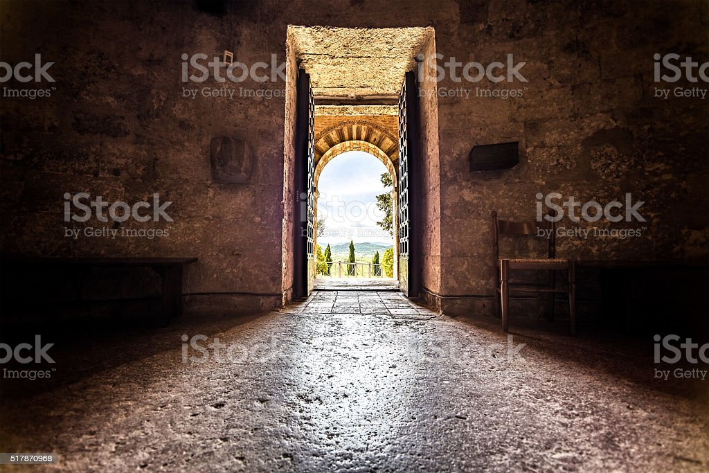 Entrance To The Old Church stock photo