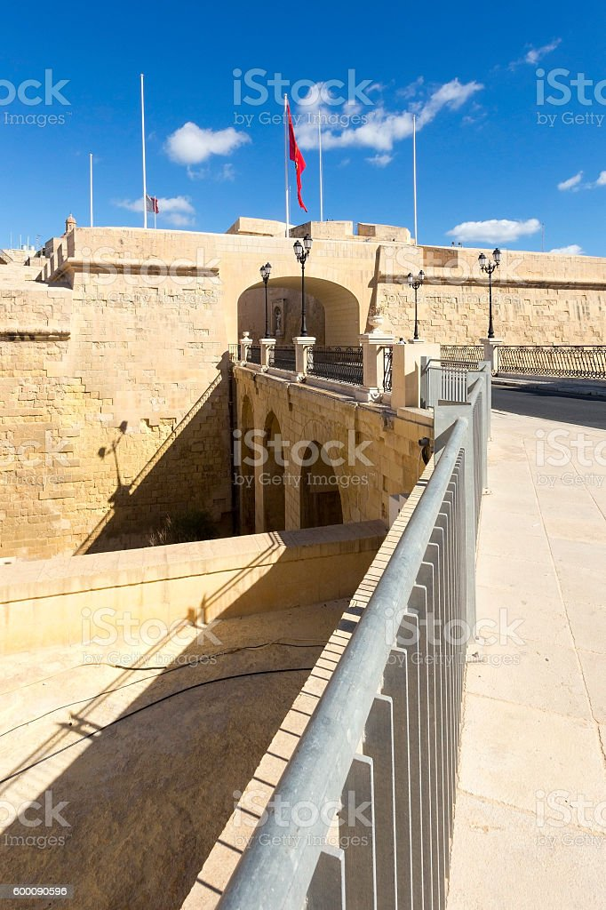 Entrance to the old city of Birgu, (Vittoriosa), Malta stock photo