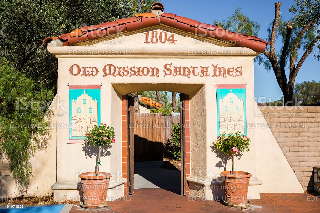 Entrance to the Old Mission Santa Ines in California stock photo