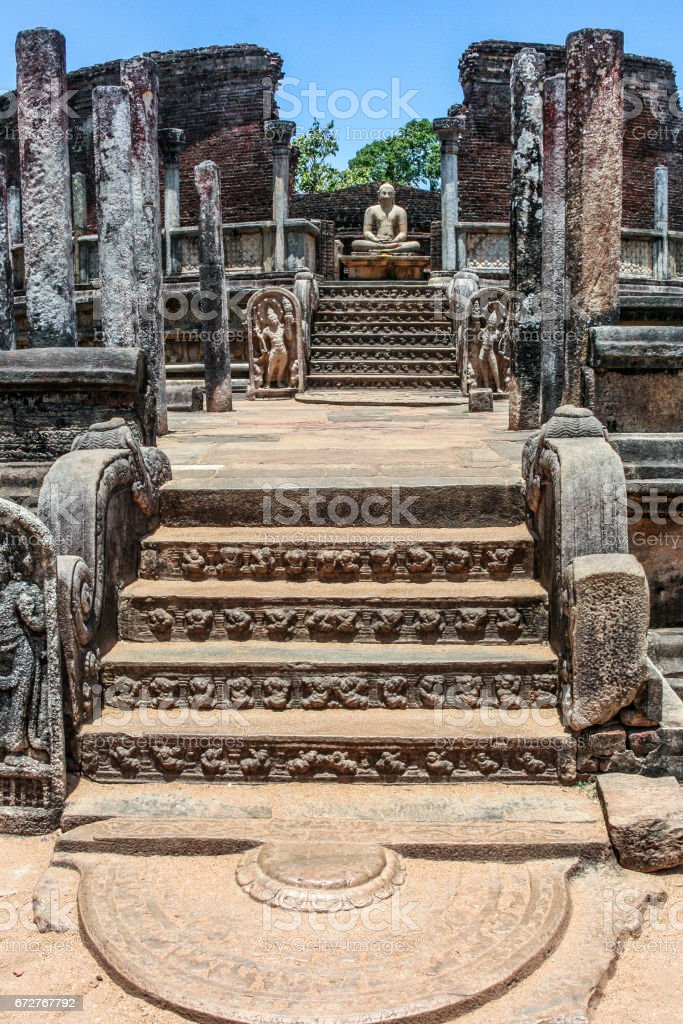 entrance to the old  Vatadage from 12th century at the kings palace stock photo