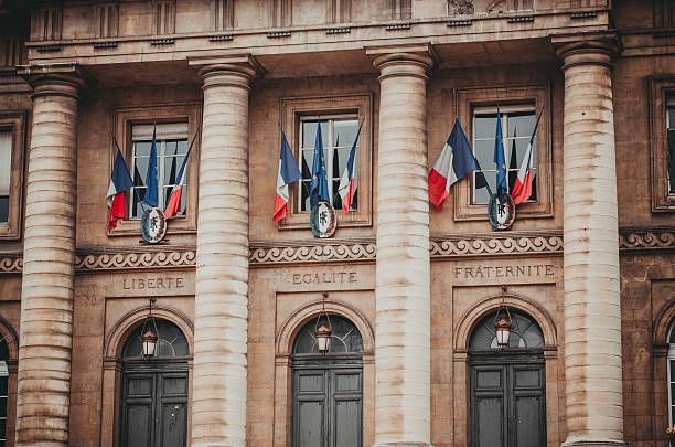 Entrance to the palais de justice in Paris France Paris France palace of justice palais de justice is the center of the french legal system french culture stock pictures, royalty-free photos & images