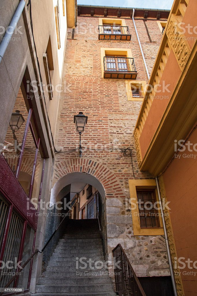 Entrance to the Plaza Mayor in Leon Spain royalty-free stock photo