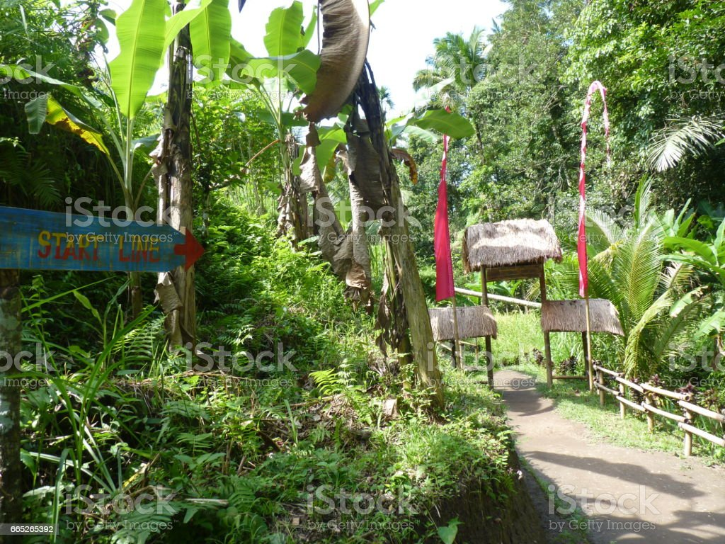 Entrance to the rice fields of Tegalalang. Bali, Indonesia stock photo