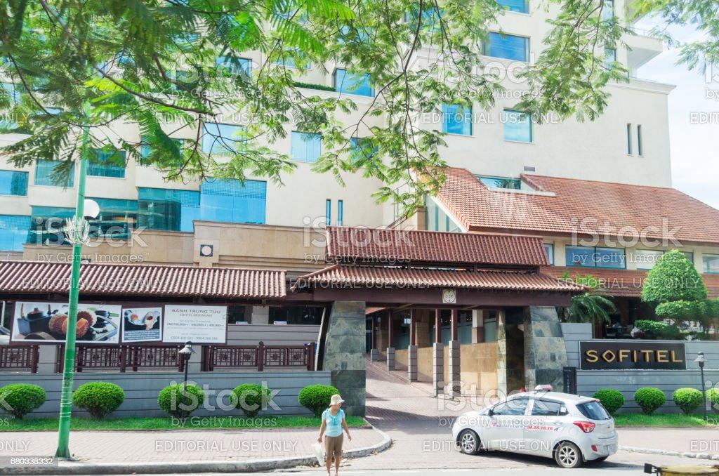Entrance to the Sofitel Plaza hotel in Hanoi. stock photo