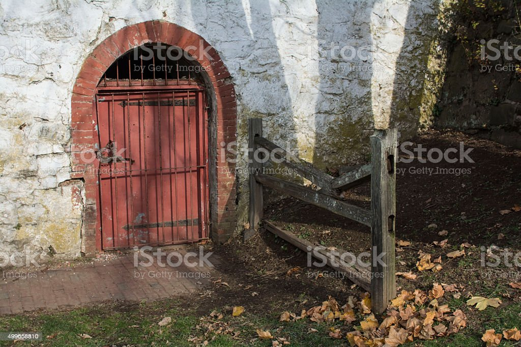 entrance to the stockade stock photo