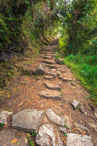 istock Inca Trail, Peru - August 03, 2017: Entrance to the Sun Gate on Inca Trail, Peru 869132308