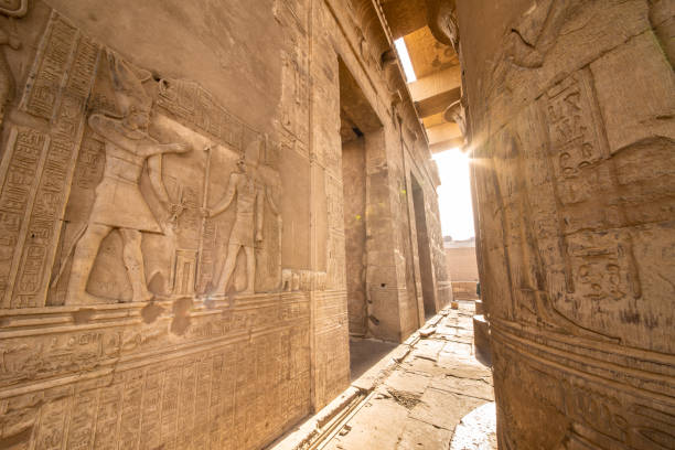 Entrance to the Temple of Kom Ombo built by the ancient Egyptian civilization near Thebes (Luxor) and Aswan stock photo
