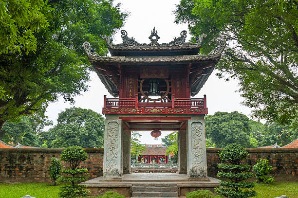 Entrance To The Temple Of Literature In Hanoi, Vietnam stock photo