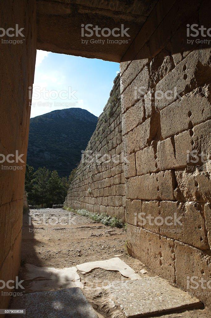 Entrance to the Tomb of Atreus. Mycenae. Greece. stock photo