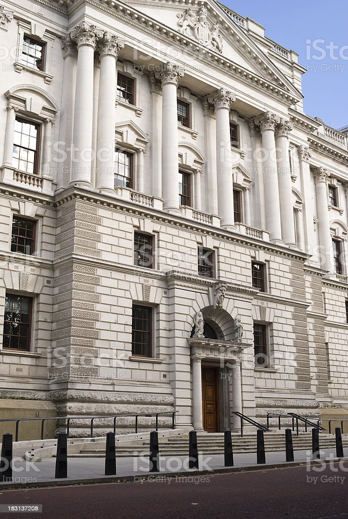 Entrance to The Treasury Building, Whitehall, London royalty-free stock photo