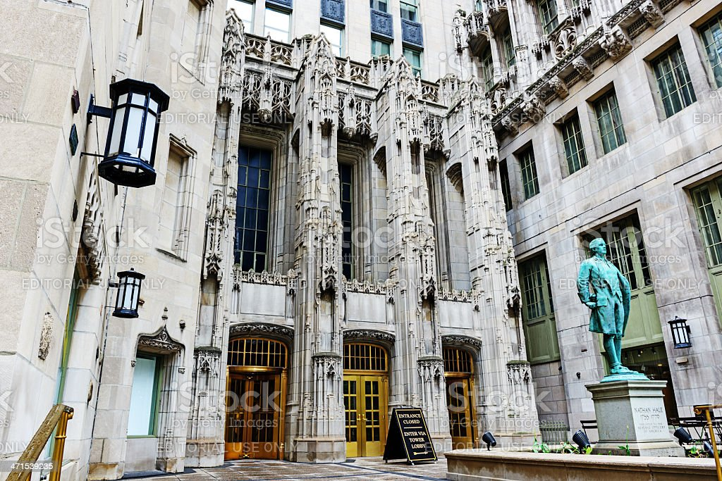 Entrance to the Tribune Tower, Chicago stock photo