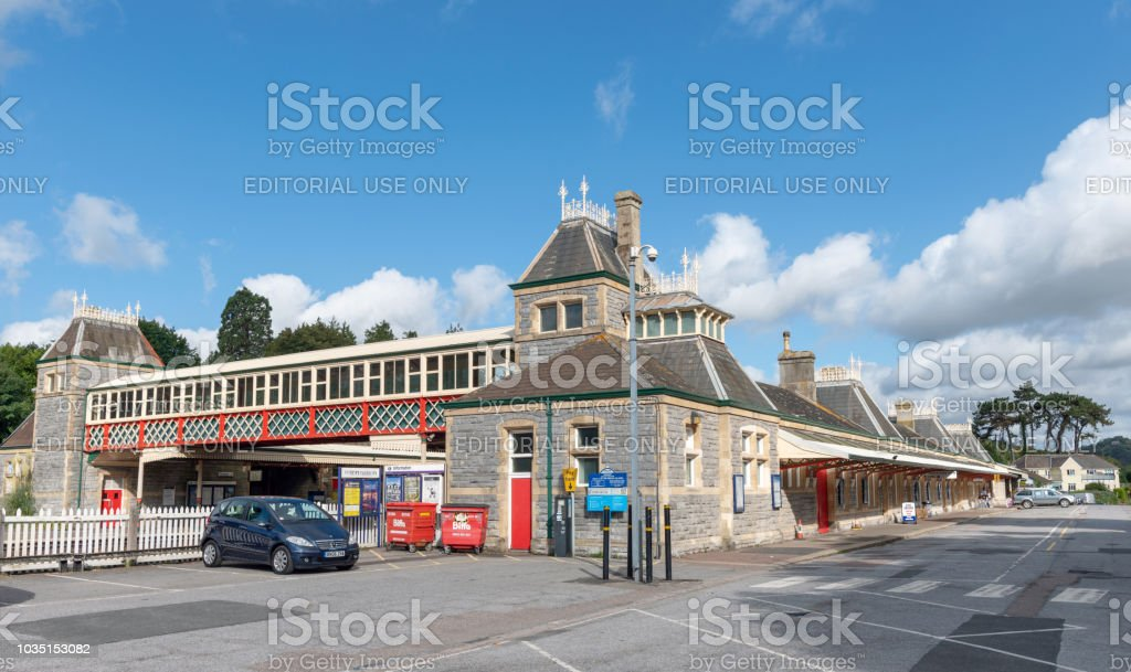 Entrance to Torquay train station stock photo