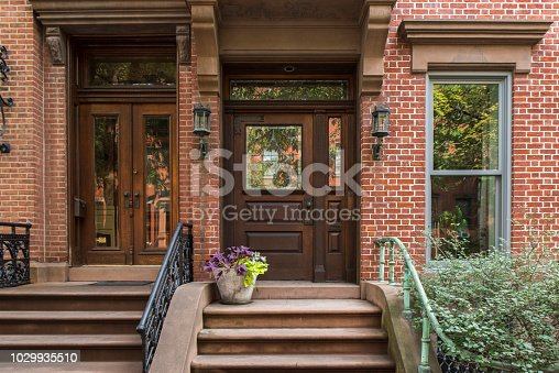 Entrance to two buildings at Brooklyn Heights, USA