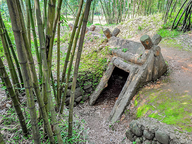 Entrance to Vinh Moc Tunnels, Quang Tri, Vietnam The Vinh Moc tunnels were used as shelter by the North Vietnamese from US B-52 carpet bombings during the US-Vietnam war. viet cong stock pictures, royalty-free photos & images