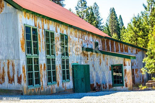 Entrance To Vintage Rusty Tin Building Once Used In Mining Operations