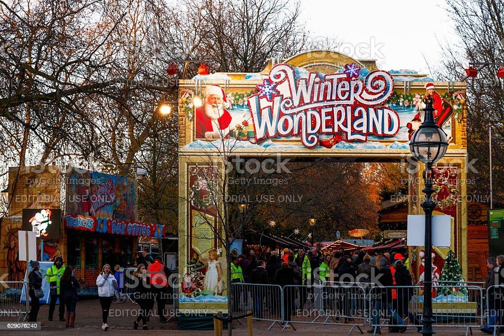 Entrance To Winter Wonderland stock photo