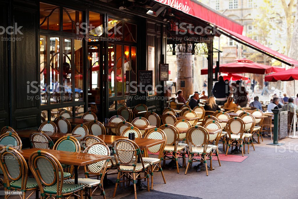Entrance view of a street cafe in Paris stock photo