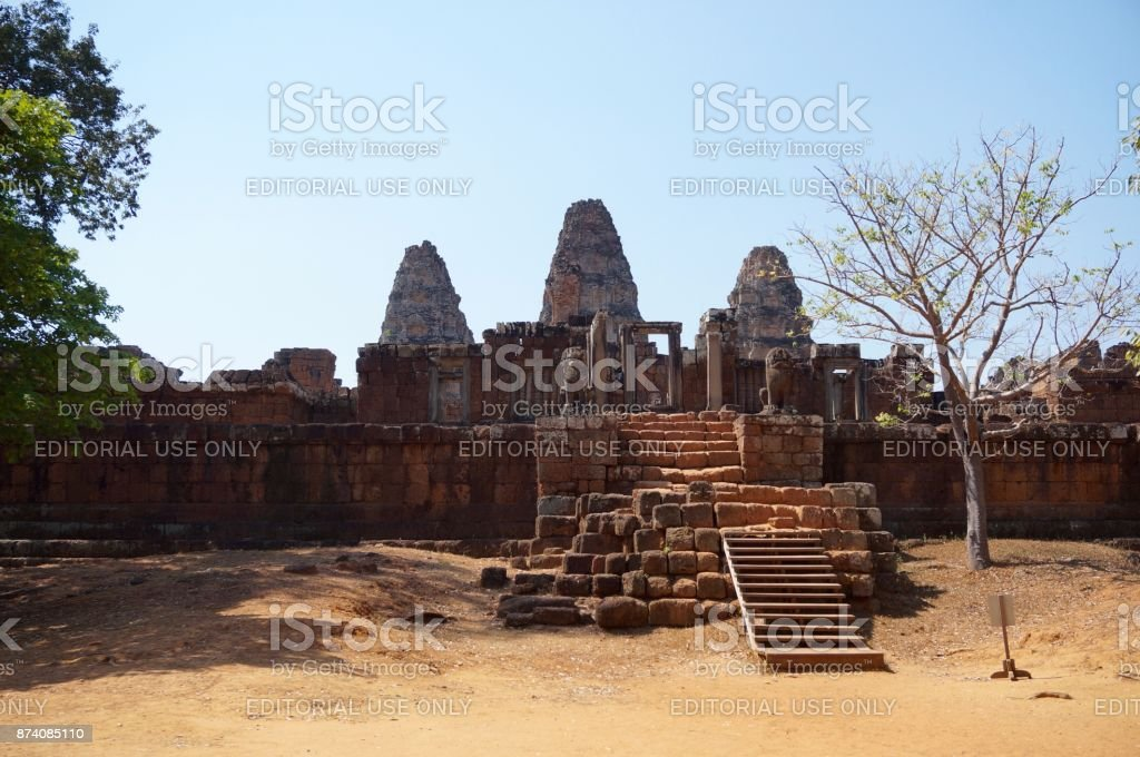 Entrance view of a temple at the Angkor site stock photo