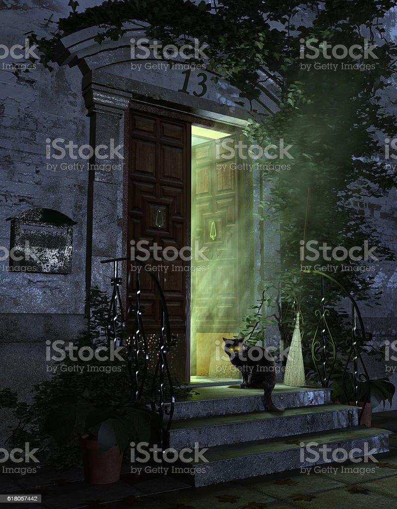 Entrance vintage door, horror night scene stock photo