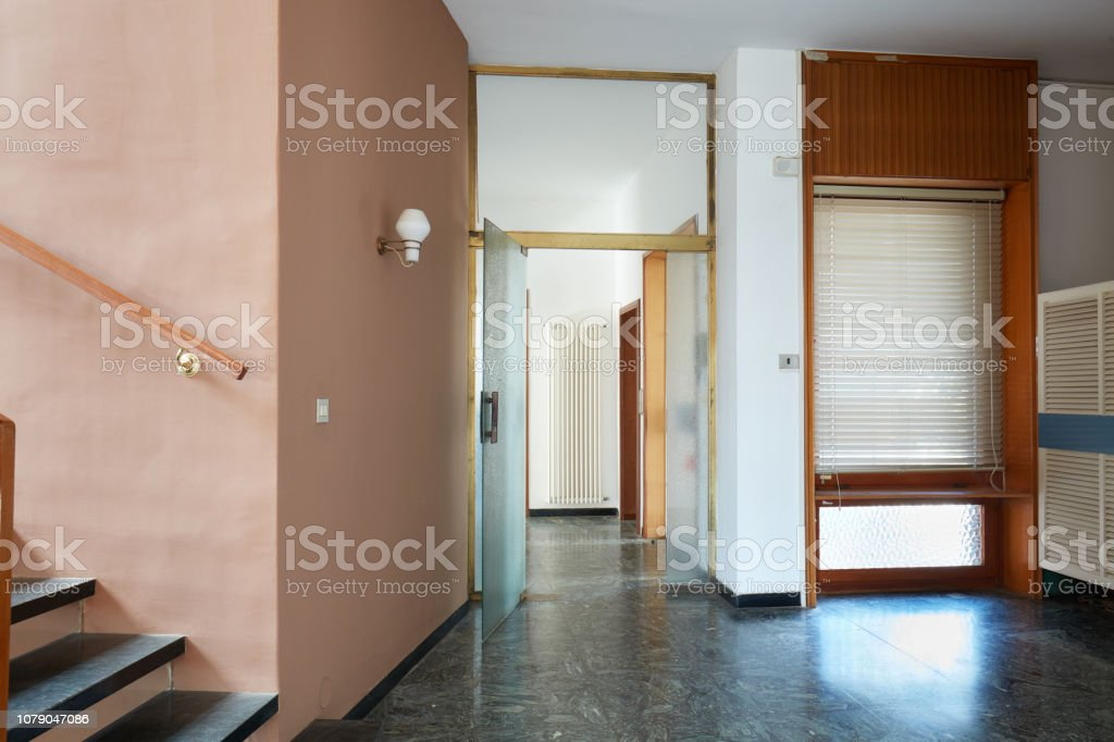 Entrance With Black Marble Floor And Glass Door In Apartment Interior In Old House Stock Photo Download Image Now Istock