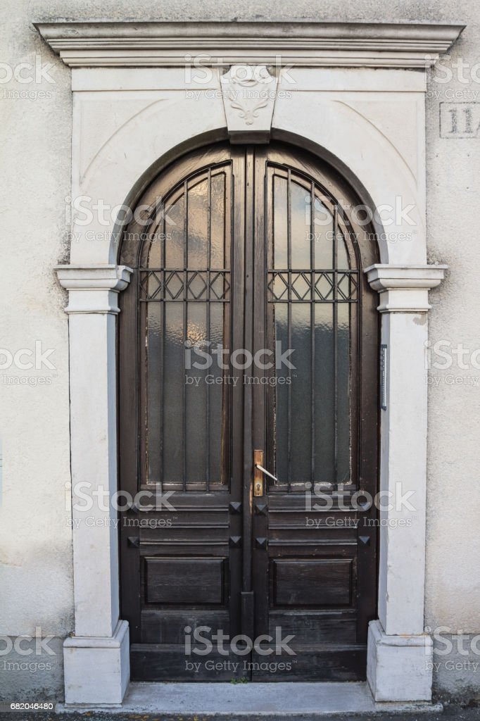 Entrance with front door stock photo