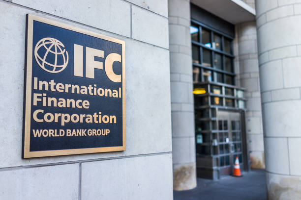 IFC entrance with sign of International Finance Corporation World Bank Group stock photo