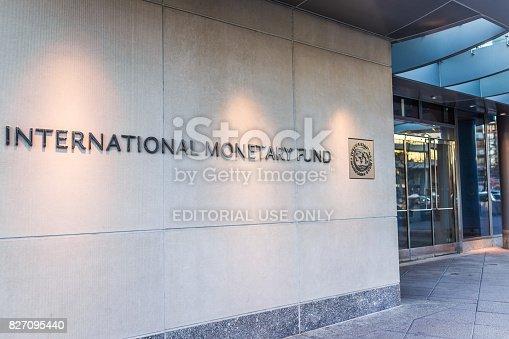 istock IMF entrance with sign of International Monetary Fund and logo 827095440