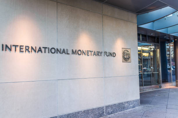 IMF entrance with sign of International Monetary Fund and logo stock photo