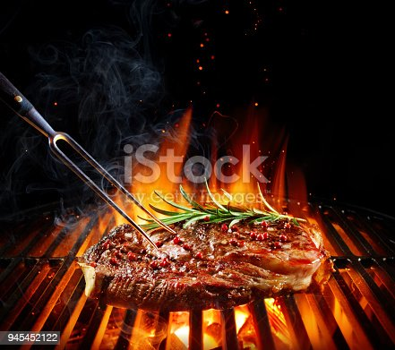 Beef Steak Loin On Barbecue
