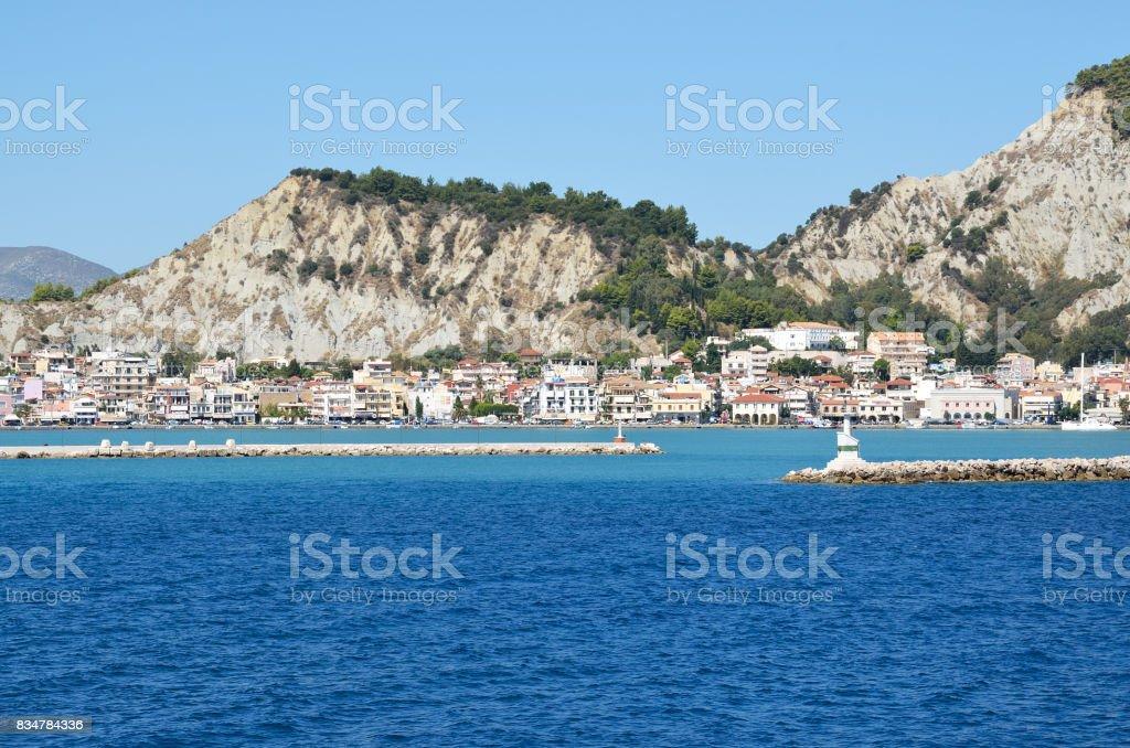 Entrence of Zakynthos port stock photo