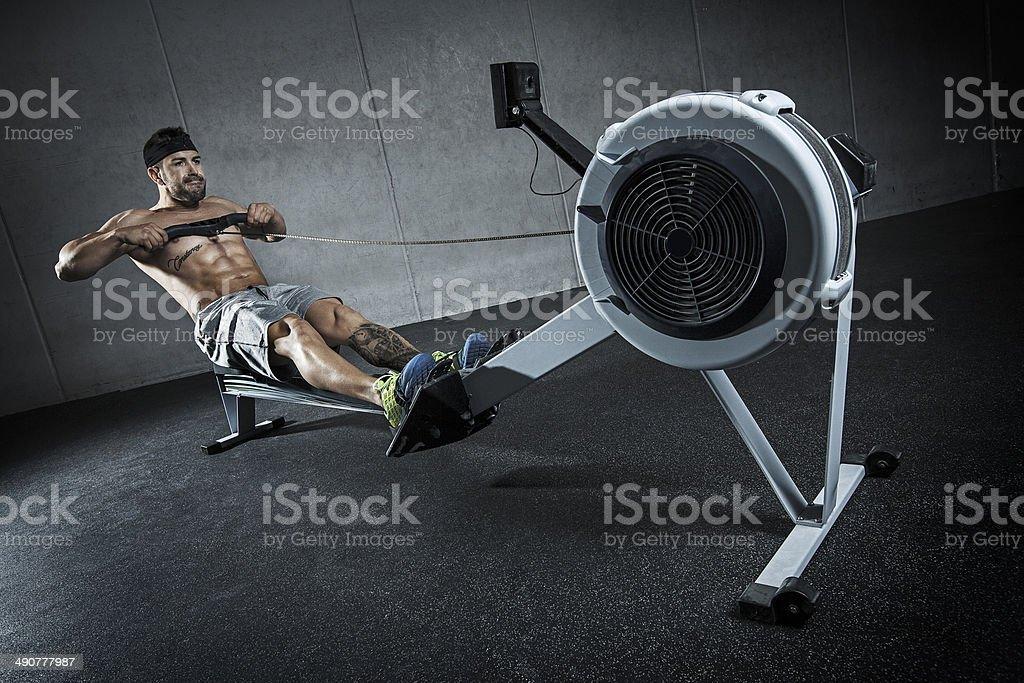 entreno con remo stock photo