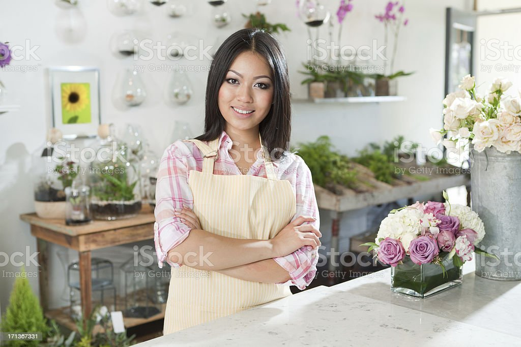 Entrepreneur Flower Shop Small Business Owner in Her Store royalty-free stock photo