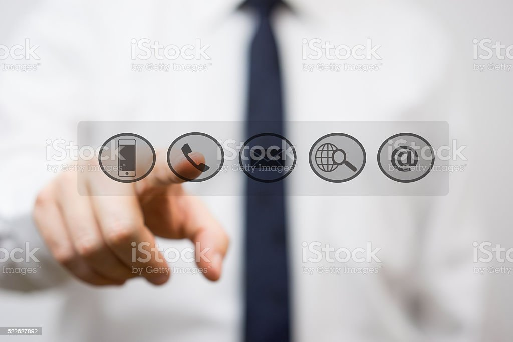Entrepreneur is pressing virtual support and service buttons stock photo