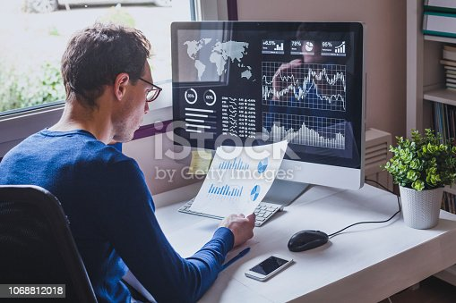 istock entrepreneur reading financial report on dashboard, fintech and audit concept 1068812018