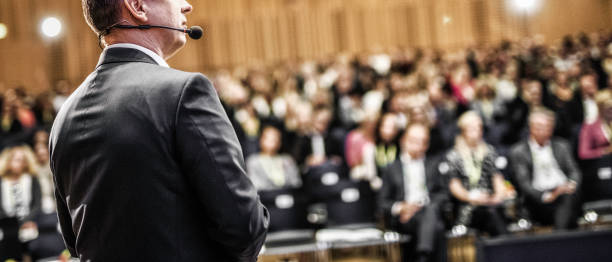 Entrepreneurial speech at a conference stock photo