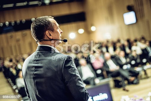 938409136 istock photo Entrepreneurial speech at a conference 938409320