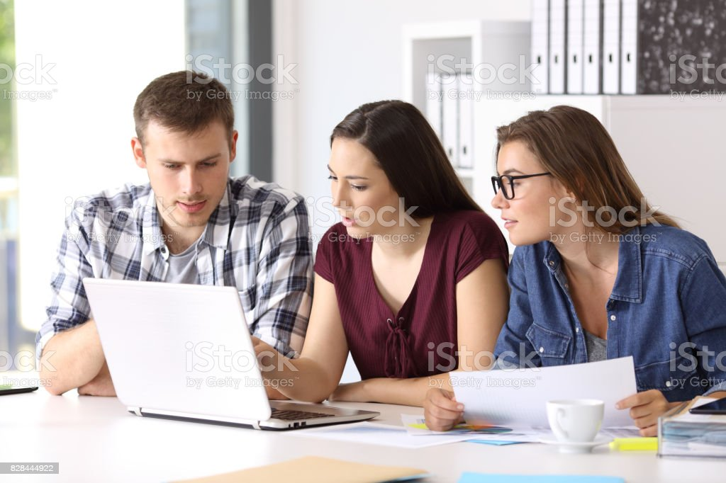 Entrepreneurs coworking at office stock photo