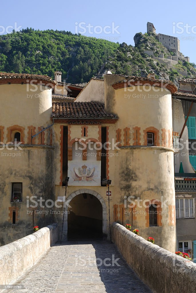 Entrevaux (France) - Entrance of the ancient town royalty-free stock photo