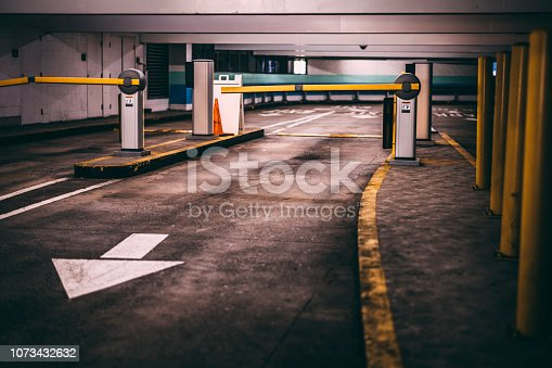 858738110 istock photo Entry and exit ramps at the parking garage 1073432632