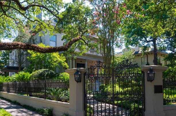 Entry Gate Garden and Home in New Orleans stock photo
