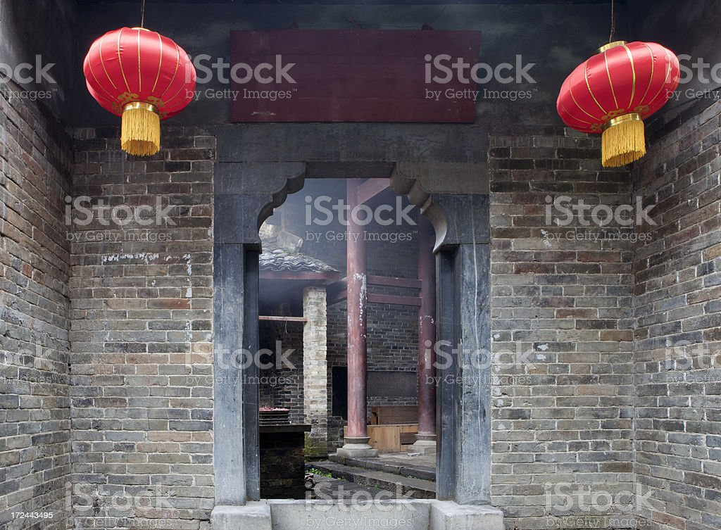 Entry of Old Temple in Huang Yao, China royalty-free stock photo