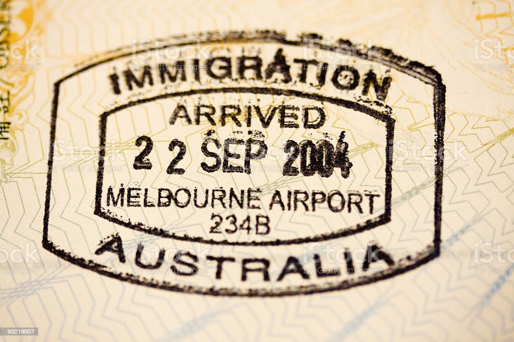 Entry Stamp From Melbourne Australia Royalty Free Stock Photo
