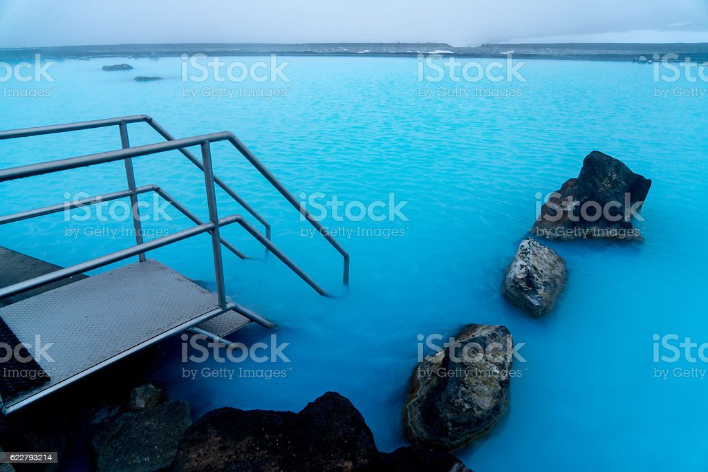 Entry to blue lagoon in Iceland (Myvatn nature baths) stock photo