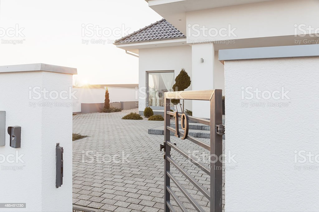 Entry to mansion area stock photo