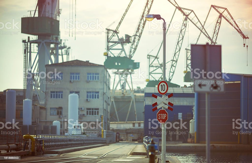 Entry to shipyard construction site royalty-free stock photo